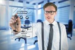 Image composée de l'écriture geeky d'homme d'affaires avec le marqueur Photographie stock