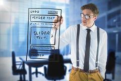Image composée de l'écriture geeky d'homme d'affaires avec le marqueur Photos stock