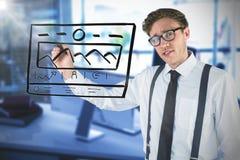 Image composée de l'écriture geeky d'homme d'affaires avec le marqueur Image stock