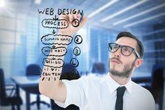 Image composée de l'écriture geeky d'homme d'affaires avec le marqueur Image libre de droits