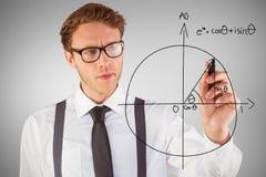 Image composée de l'écriture geeky d'homme d'affaires avec le marqueur Photos libres de droits