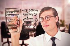 Image composée de l'écriture geeky d'homme d'affaires avec le stylo Photo stock