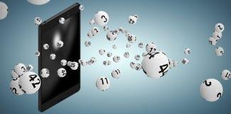 Image composée de l'image 3d des boules blanches de bingo-test Photographie stock