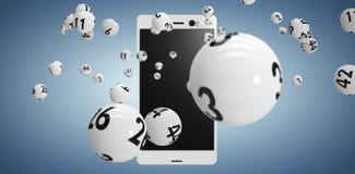 Image composée de l'image 3d des boules blanches de bingo-test Photos stock