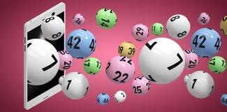 Image composée de l'image 3d des boules colorées de bingo-test Photo libre de droits