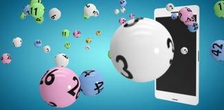 Image composée de l'image 3d des boules colorées de bingo-test Photos libres de droits