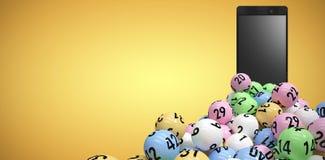 Image composée de l'image 3d des boules colorées de bingo-test Photos stock