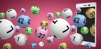 Image composée de l'image 3d des boules colorées de bingo-test Images libres de droits