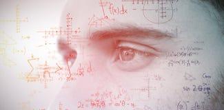 Image composée de l'homme avec des yeux bleus regardant loin Image libre de droits