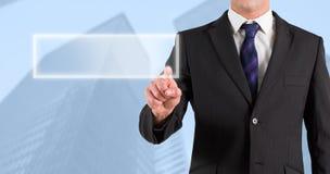 Image composée de l'homme d'affaires dans le costume dirigeant le doigt Photographie stock libre de droits