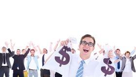 Image composée de l'homme d'affaires heureux geeky tenant des sacs d'argent photos libres de droits
