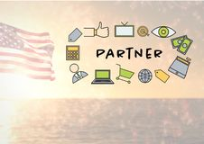 image composée de l'icône s d'associé contre la mer et le drapeau américain Photographie stock