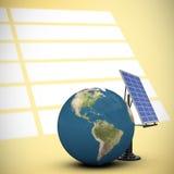 Image composée de l'illustration 3d du globe avec le panneau solaire Image stock