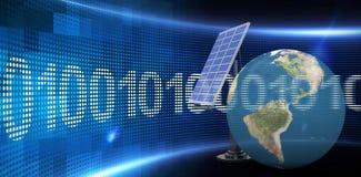 Image composée de l'illustration 3d du globe avec le panneau solaire Photo libre de droits