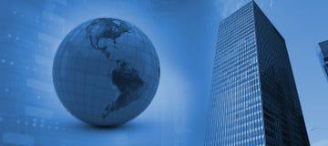 Image composée de l'illustration 3d du globe bleu Images stock