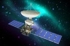 Image composée de l'illustration 3d du satellite bleu d'énergie solaire Photos libres de droits