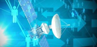 Image composée de l'illustration 3d du satellite bleu d'énergie solaire Images libres de droits
