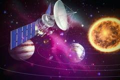 Image composée de l'illustration 3d du satellite solaire bleu Photographie stock