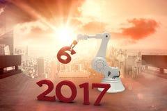 Image composée de l'illustration de la main robotique tenant le nombre 3d Photos libres de droits