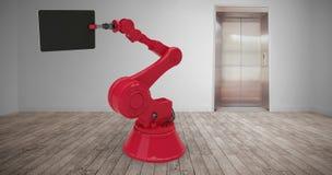 Image composée de l'image composée de la machine rouge tenant le comprimé numérique 3d Photos stock