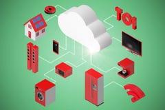 Image composée de l'image composée des icônes et du nuage 3d Image stock