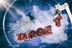 Image composée de l'image composée du bras robotique s'chargeant du texte cible 3d Photo libre de droits