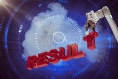 Image composée de l'image composée du bras robotique s'chargeant du texte 3d de résultat Image stock