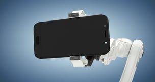 Image composée de l'image composée du robot montrant le téléphone intelligent 3d Photos stock