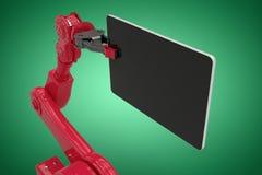 Image composée de l'image composée du robot rouge tenant le comprimé 3d d'ordinateur Image stock