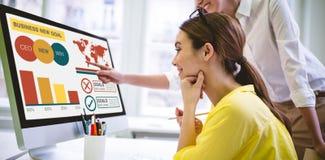 Image composée de l'image composée numérique de la présentation d'affaires avec les diagrammes et le texte photographie stock