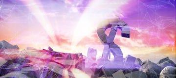 Image composée de l'image 3d composée des symboles monétaires endommagés Photo stock