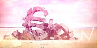Image composée de l'image 3d composée des symboles monétaires endommagés Photographie stock libre de droits