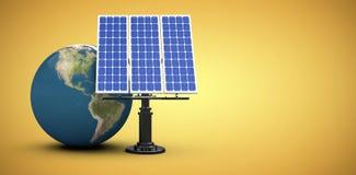 Image composée de l'image 3d du globe avec le panneau solaire Photo libre de droits