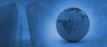 Image composée de l'image 3d du globe bleu Photographie stock