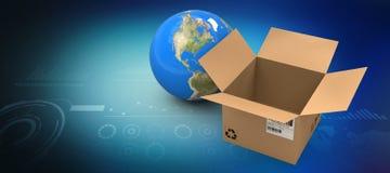 Image composée de l'image 3d du globe par la boîte en carton vide Photos libres de droits