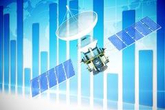 Image composée de l'image 3d du satellite bleu d'énergie solaire illustration stock