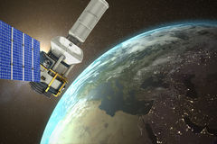 Image composée de l'image 3d du satellite moderne d'énergie solaire Photo libre de droits