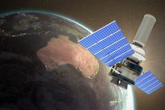 Image composée de l'image 3d du satellite moderne d'énergie solaire sur le fond blanc illustration de vecteur