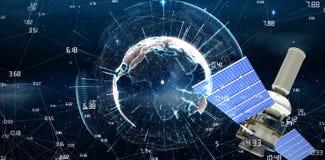Image composée de l'image 3d du satellite moderne d'énergie solaire sur le fond blanc Photo libre de droits