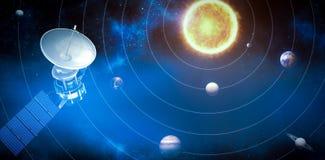 Image composée de l'image 3d du satellite solaire bleu illustration de vecteur