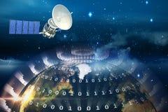 Image composée de l'image 3d du satellite solaire bleu Photo libre de droits