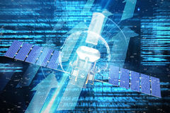 Image composée de l'image 3d du satellite solaire de puissance moderne Image stock
