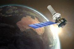 Image composée de l'image 3d du satellite solaire moderne Images libres de droits