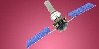 Image composée de l'image 3d du satellite solaire moderne bleu Image libre de droits