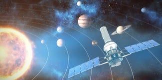 Image composée de l'image 3d du satellite solaire moderne bleu Photos libres de droits