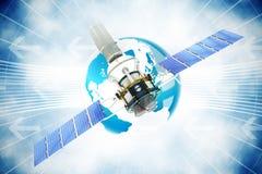 Image composée de l'image 3d du satellite solaire moderne bleu Image stock