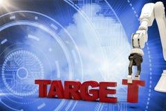 Image composée de l'image du bras robotique s'chargeant du texte cible 3d Images stock