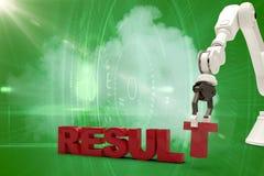 Image composée de l'image du bras robotique s'chargeant du texte 3d de résultat Photo libre de droits