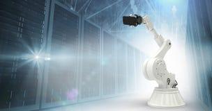 Image composée de l'image graphique du robot tenant le téléphone intelligent 3d Photographie stock libre de droits