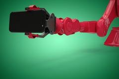 Image composée de l'image produite numérique du robot montrant le téléphone portable 3d Images libres de droits